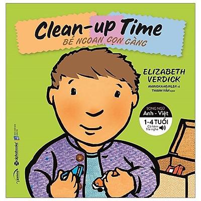 Sách-bộ sách song ngữ kỹ năng sống cho bé-Clean-up time-bé ngoan gọn gàng