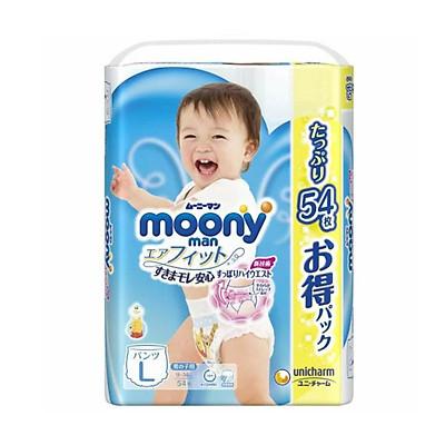 Bỉm - Tã quần Moony Blue Jumbo size L bé trai 54 miếng (Cho bé 9~14kg)