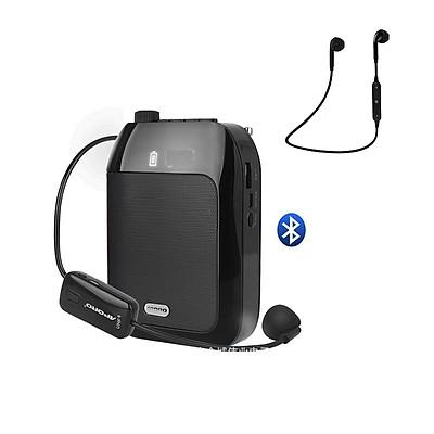 Máy trợ giảng không dây Aporo T20, Có Bluetooth, Kháng nước, Kèm theo: 1 Micro ko dây cài tai + 1 Micro có dây cài tai + 1 Micro có dây cài ve áo + 1 Tai nghe Bluetooth Siêu Bass Có Mic Đàm Thoại Thích Hợp các cuộc họp, hội nghị và học trực tuyến trên Zoo