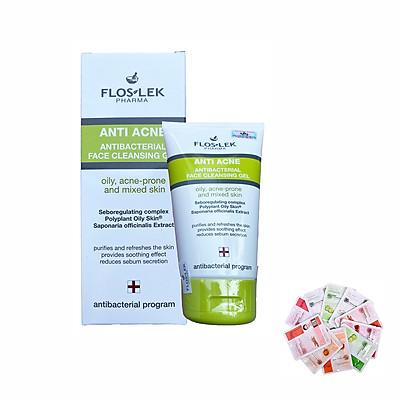 Sữa rửa mặt làm sạch da, diệt khuẩn cho da nhờn mụn Floslek Anti Acne Bacterial Face Cleansing Gel 125ml + Tặng 1 mặt nạ Dermal bất kỳ