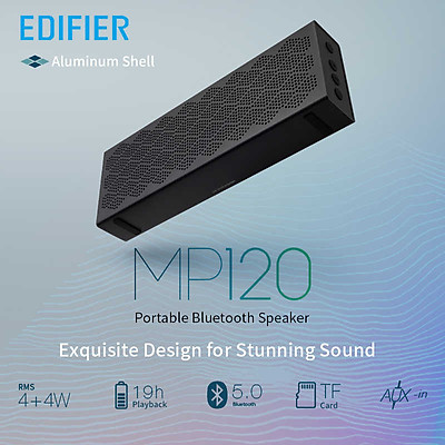 Loa Bluetooth 5.0 EDIFIER MP120 Hỗ Trợ Thẻ TF AUX Đầu Vào Công Nghệ CNC Đôi Loa Toàn Dải Công Suất Tổng 8W Dải Âm Trầm Mạnh Mẽ Pin 2.200 mAh Lên Đến 19H Phát Lại