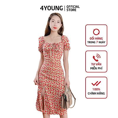 Đầm Hoa Nhí 4YOUNG FASHION Xẻ Tà Tay Phồng Chất Liệu VOAN Cao Cấp V66