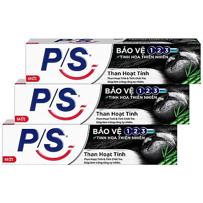 Combo 3 Kem đánh răng P/S Bảo vệ 123 Than Hoạt Tính 180g giúp làm trắng răng tự nhiên