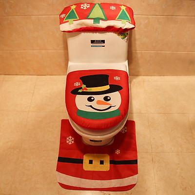 Merry Christmas Old Man/Snowman Printing Toilet Cover Mat Non Slip Rug Bathroom Set Home Decoration