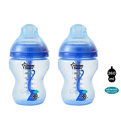 Bình sữa siêu chống đầy hơi kèm báo nhiệt Tommee Tippee Advanced Anti-Colic 260ml, núm ty đi kèm 0-3 tháng (bình đôi) - Xanh dương