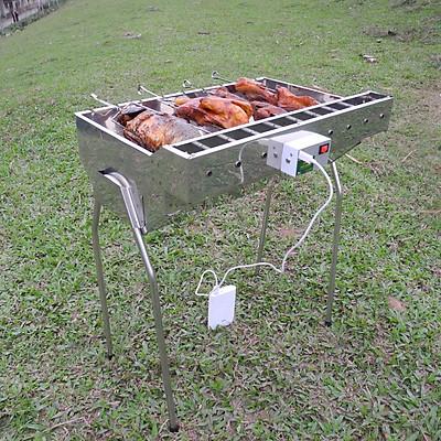 Bếp nướng than hoa TỰ XOAY, Quay cả con chim, gà, cá, sườn, tối đa 2kg / xiên