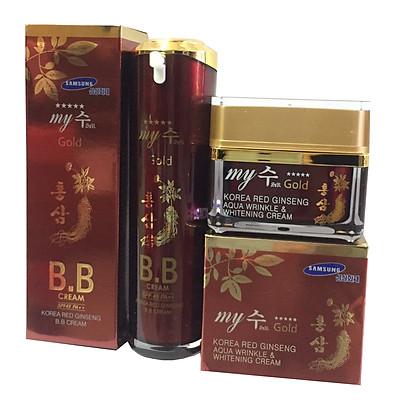 Combo Kem Nền BB Sâm Đỏ My Gold-My SU S II R Red Ginseng B.B Cream (40ml) và Kem Hồng Sâm Dưỡng Trắng Da Ngày Và Đêm My Gold (50ml)
