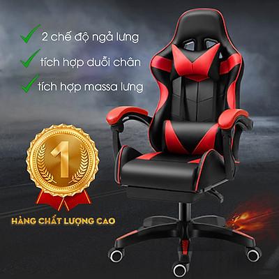 Ghế gaming tặng kèm bộ gối tựa và massage lưng, Ghế game bọc da cao cấp ( Mầu ngẫu nhiên ) - Hàng chính hãng