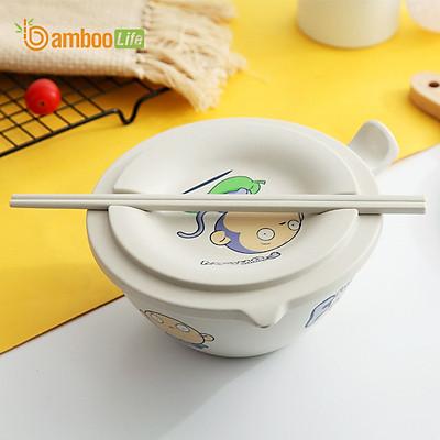 Bát úp mì Bát ăn mì sợi tre Bamboo Life hàng chính hãng BL034 có nắp đậy kèm đũa