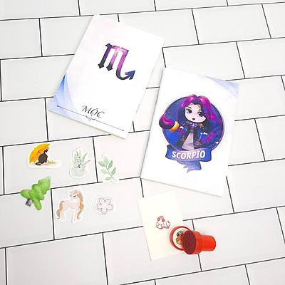 Bộ Sưu Tập Cá Tính Cung Hoàng Đạo Gồm 2 Sổ Tay Và 1 Con Dấu Tặng Kèm 6 Sticker Mini Mẫu Ngẫu Nhiên - Bọ Cạp