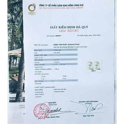 Combo Hoa Tai Ngọc Trai Thiên nhiên, kèm bản PHOTOCOPY giấy KIỂM ĐỊNH SJC và Túi Nhung.