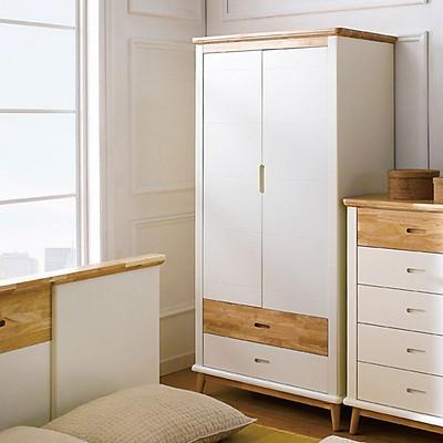 Tủ Quần Áo 2 Cánh Vivid Gỗ Tự Nhiên 1M0 Ibie BSW2VIVR10 - Trắng (100 x 60 cm)