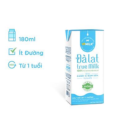 Sữa Tươi Đà Lạt True Milk Ít Đường Hộp 180ml (Thùng 48 Hộp)