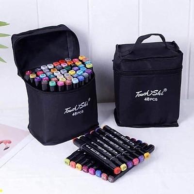 Bút màu marker chuyên nghiệp Deli -kèm túi vải sét 48 cây 2 đầu siêu đẹp