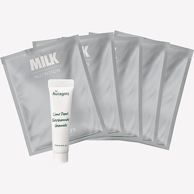 Combo Gel dưỡng ẩm giảm thâm The Auragins 10ml và 5 mặt nạ Lixibox - Milk