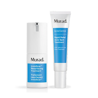 Set Kem giúp mờ sẹo, giảm thâm mụn Murad InvisiScar Resurfacing Treatment (Free: Gel trị mụn 4 giờ Murad Rapid Relief Acne Spot Treatmentl)