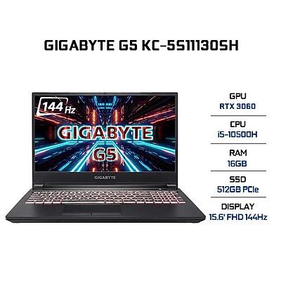 Laptop Gigabyte G5 KC-5S11130SH (Core i5-10500H/ 16GB (8x2) DDR4 3200MHz/ 512GB SSD M.2 PCIE G3X4/ RTX 3060 6GB GDDR6/ 15.6 FHD IPS, 144Hz, 3ms/ Win10) - Hàng Chính Hãng