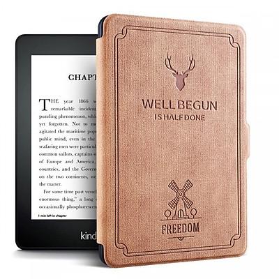 Combo Máy Đọc Sách Kindle Paperwhite Gen 10th (8GB - Màu Đen) và Bao da WELL BEGUN Màu vàng - Hàng Chính Hãng
