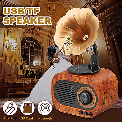 Wireless Portable Speaker Retro Trumpet Style Stereo bluetooth Subwoofer Music