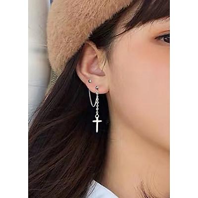 Bông tai khuyên tai thánh giá sợi mắt xích xỏ 2 lỗ style unisex