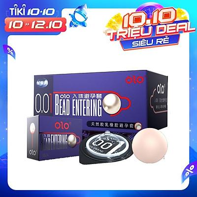 Bao cao su OLO Bead Entering, siêu mỏng, nhiều gel, tăng kích thước chiều dài 3cm - Hộp 10 bcs