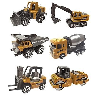 Xe công trình xây dựng bằng kim loại  KAVY gồm 6 xe chi tiết sắc sảo, an toàn cho bé, dùng làm đồ chơi trẻ em hoặc trang trí