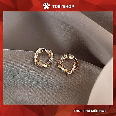 Khuyên tai nụ tròn phối xoắn đính đá lấp lánh mạ ánh vàng sang trọng TB11 - TOBI'SHOP
