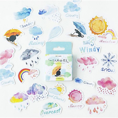 Hộp 45 Miếng Dán Sticker Trang Trí Thời Tiết