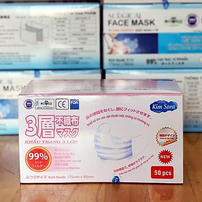 Khẩu trang y tế Kim Sora 3 lớp tiêu chuẩn Nhật Bản màu trắng hộp 50 chiếc