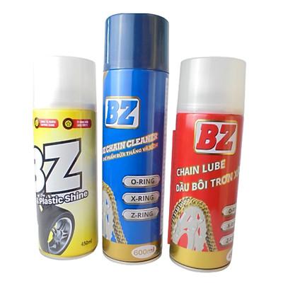 Combo 3 chai Xịt Vệ Sinh Sên Dưỡng Sên và Xịt Đánh Bóng Lốp xe BZ