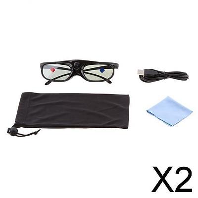 2x3D Glasses For DLP-LINK Projectors Active Shutter Acer/BenQ/Optoma Black