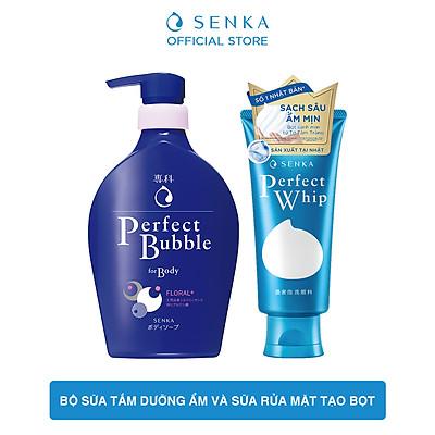 Bộ sữa tắm dưỡng ẩm Senka hương linh lan, hoa nhài và sữa rửa mặt tạo bọt