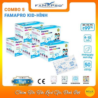 [[ Xuất Khẩu Mỹ ]] - COMBO 5 HỘP - Khẩu Trang Y Tế Cao Cấp FAMAPRO - 3 Lớp Kháng Khuẩn / 99% Lọc Khuẩn, Bụi, Virus Tốt Nhất / Trẻ Em - [ CB5 - MAX KID - HỘP ]