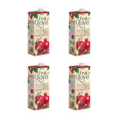 COMBO  Nước Trái Cây Cao Cấp Fruit Love Lựu Táo - 4 Hộp 1L