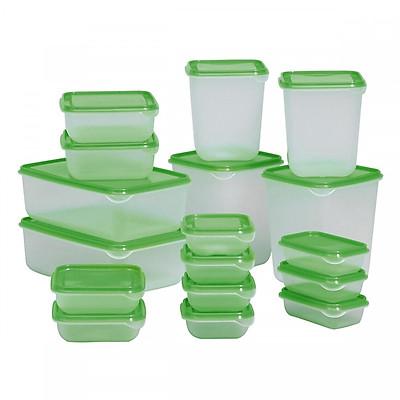 Bộ 17 Hộp Đựng Thực Phẩm Đa Năng Chất Liệu Nhựa Cao Cấp - Tiện Dụng - An Toàn Cho Sức Khỏe - An Toàn Khi Sử Dụng Với Lò Vi Sóng