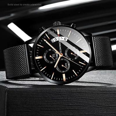 Đồng hồ nam ECONOMICXI dây thép mành đen chạy lịch ngày thiết kế cá tính ECO0129