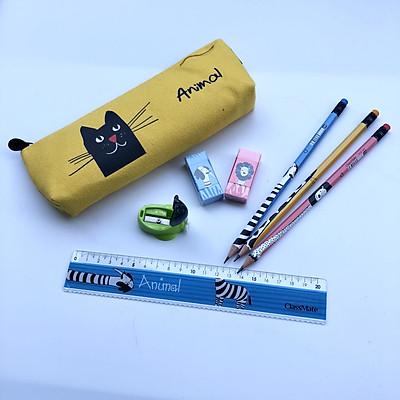 Combo đồ dùng học tập Classmate - Seri Animal gồm 5 món  : Túi đựng bút - Thước - bút chì -  tẩy - gọt chì