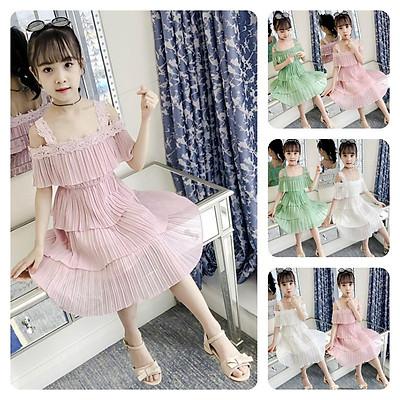 VL80 Size110-160 (15-33kg) đầm cho bé gái, kiểu dáng công chúa Thời trang trẻ Em hàng quảng châu