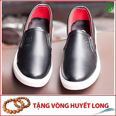 Giày Slip On Nam Aroti Đế Khâu Chắc Chắn Phong Cách Đơn Giản Màu Đen - M498-DEN(HL)- Tặng Vòng Gỗ Huyết Long