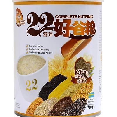 Bột ngũ cốc dinh dưỡng cao cấp 22 dưỡng chất hiệu 22 Complete Nutrimix - Chia Seed (Hạt chia) - hộp thiếc 750g