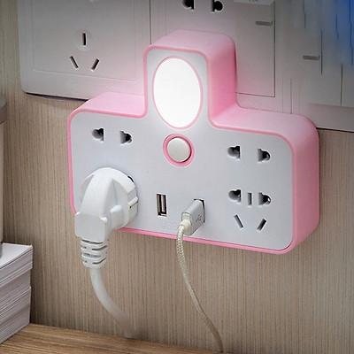 Ổ Cắm Điện Phát Sáng Hình Chữ T Nhỏ Gọn Đa Năng Có Đèn Ngủ Tiện Dụng Tích Hợp 2 Cổng Sạc USB (Giao Mẫu Ngẫu Nhiên)