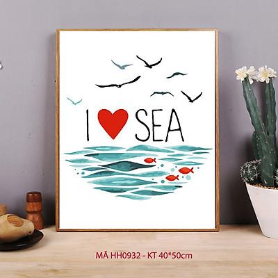 Tranh tô màu số hóa Biển xanh và chim Hải âu hiện đại đơn giản dễ vẽ I love sea HH0932