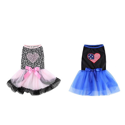 2Pieces Cute Dogs Fashion Dress Female Dogs Party Apparel For Small Dogs