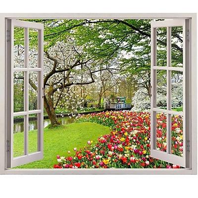 Tranh dán tường 3d  cửa sổ hoa tulip - tranh dán tường phòng khách - phòng ngủ - không phai  màu CS91