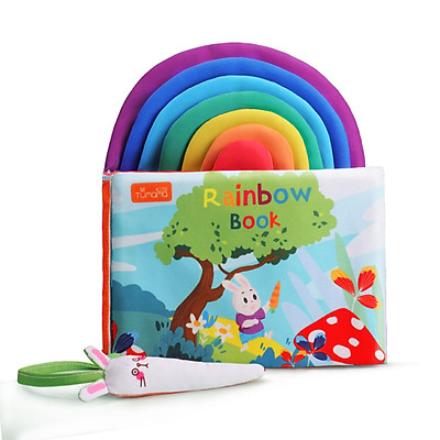 tumama Baby Cloth Book 3D Rainbow Soft Book with Rabbit Pen Touch & Feel Sensory Book Early Education Learning Activity