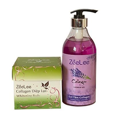 ZEELEE COLLAGEN DIỆP LỤC WHITENING BODY CREAM 200G - tặng kèm sữa tắm 600ml