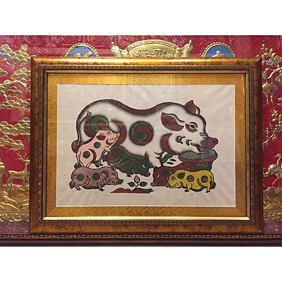 Tranh dân gian Đông Hồ, Đàn Lợn ( 48x63cm )