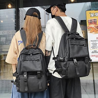 Balo thời trang nam nữ Unisex chống nước balo cặp sách đi học laptop sinh viên học sinh trơn đen - MunNiNi