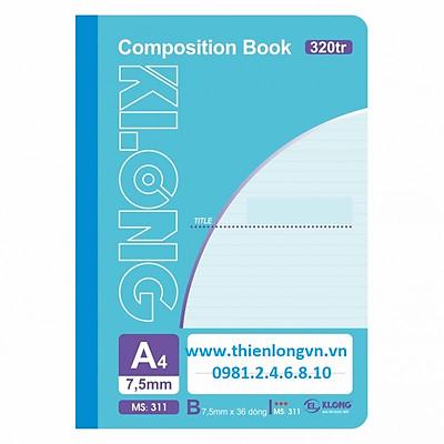 Sổ may dán gáy A4 - 320 trang; Klong 311 bìa xanh biển