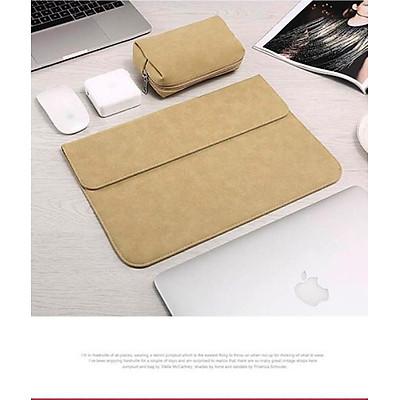 Bao da, túi da, cặp da chống sốc cho macbook, laptop chất da lộn kèm ví đựng phụ kiện - Vàng Cát - Macbook Air 13.3 inch đời 2018 đến 2020